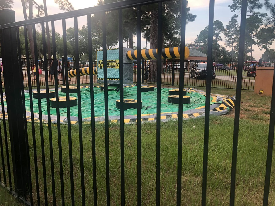 Wipe Out game at Jellystone in Texas.   Jellystone Park in Waller, Texas