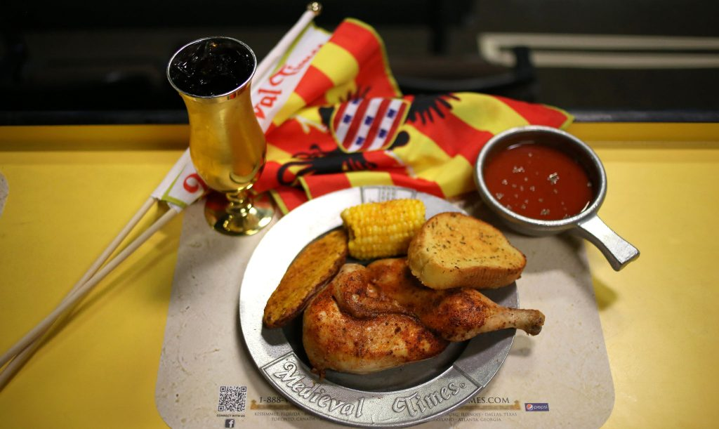 Plate of food at Medieval Times with Dinner and Tournament in Dallas.| Weekend in Dallas with Kids
