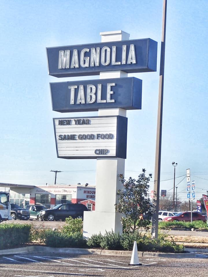 Sign for Magnolia Table restaurant in Waco. | Waco, TX; Birthday Weekend in Magnolia