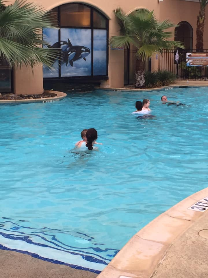 People swimming in the pool at Courtyard by Marriott San Antonio SeaWorld Westover Hills in San Antonio.   Week in San Antonio, Texas