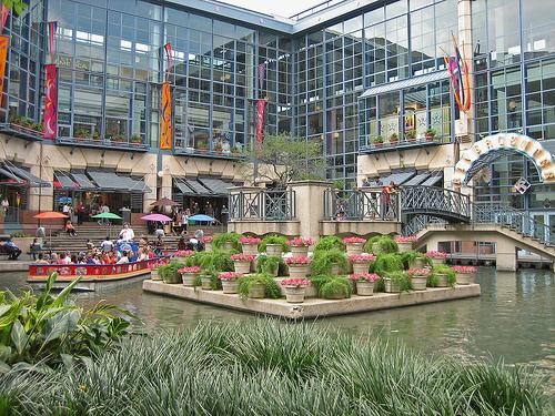 View of the outside of Rivercenter Mall in San Antonio.   Week in San Antonio, Texas