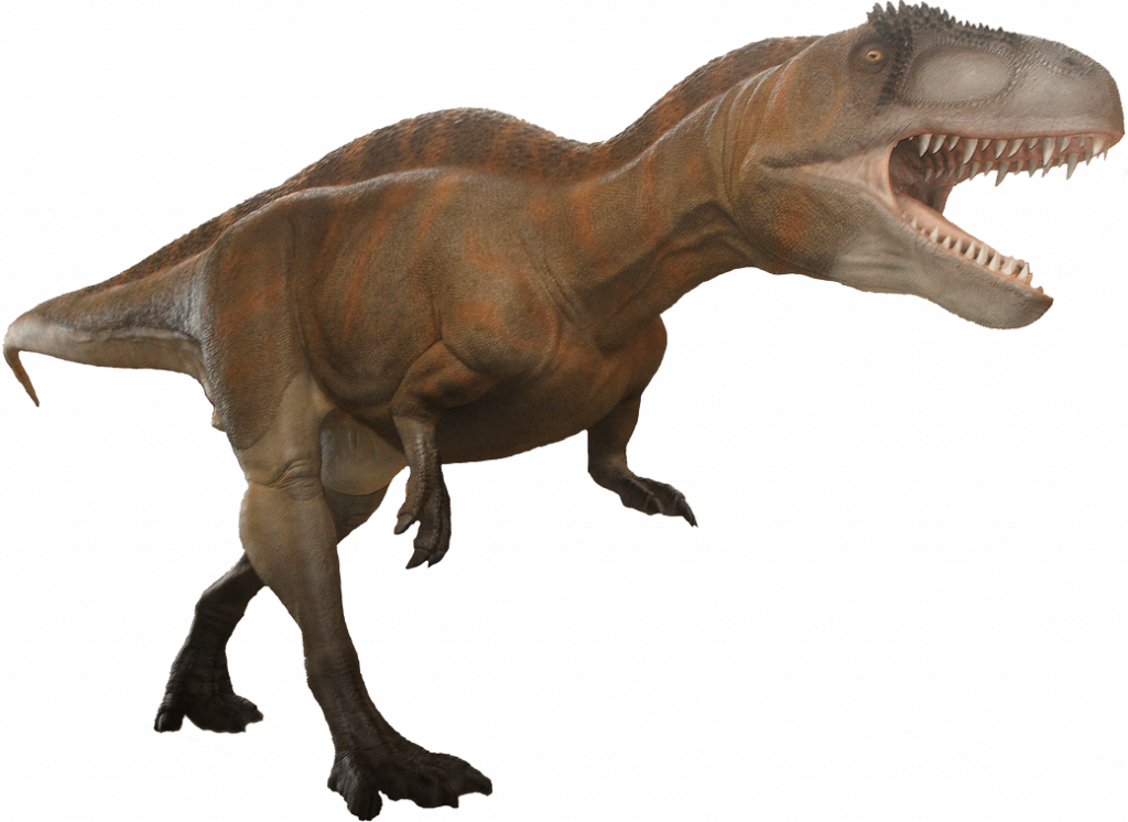 Picture of an Acrocanthosaurus dinosaur.   Dinosaur Valley State Park in Texas