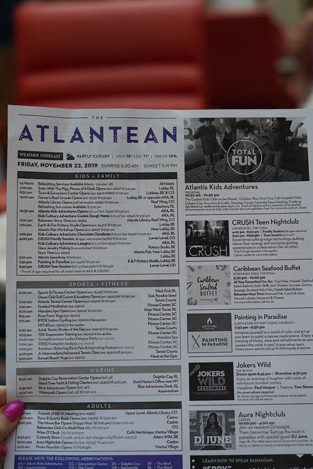 Atlantean activities list at the Atlantis resort.   Atlantis, Bahamas
