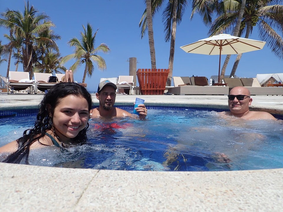 People in the hot tub at Reflect Krystal in Cabo.   Cabo, Mexico- The Best All Inclusive Vacation