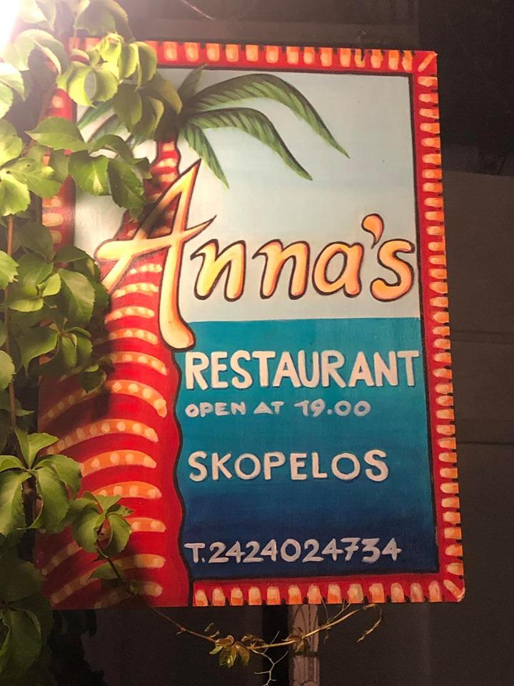 Sign for Anna's restaurant in Greece.| Skopelos Island, Greece- Mamma Mia Island