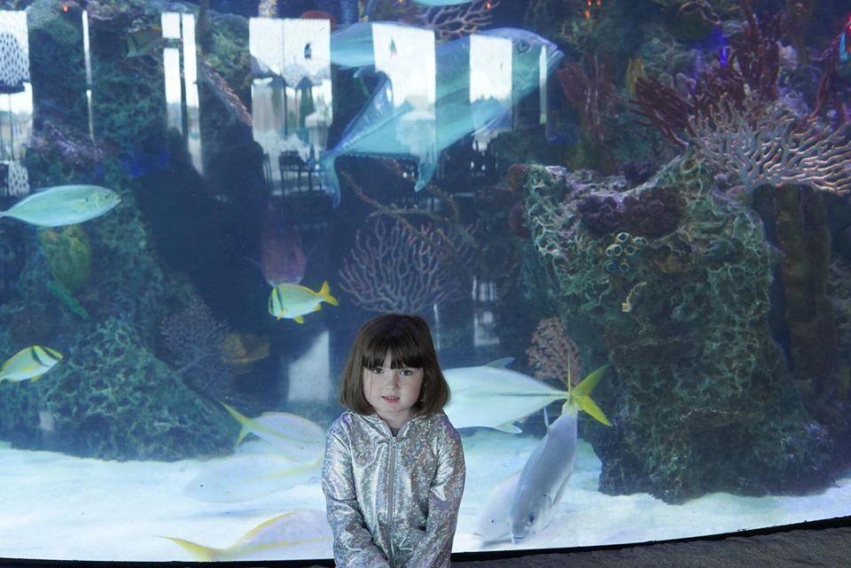Little girl posing in front of aquarium at the boardwalk in Kemah. | Kemah Boardwalk in Texas
