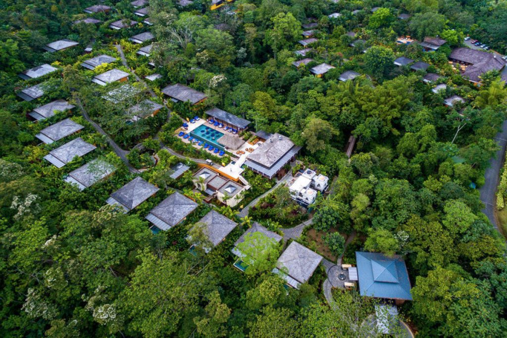 Aerial view of Nayara Spa and Gardens in La Fortuna.   Costa Rica, Arenal Volcano