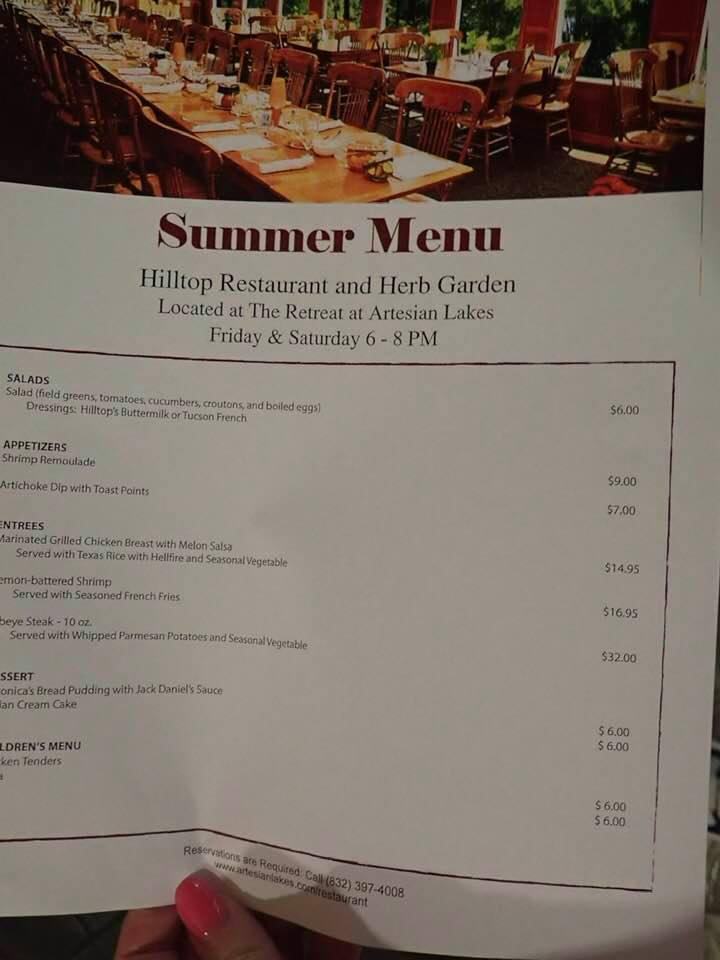 Summer menu at the Hilltop Restaurant at the lake.| The Retreat at Artesian Lakes in Texas