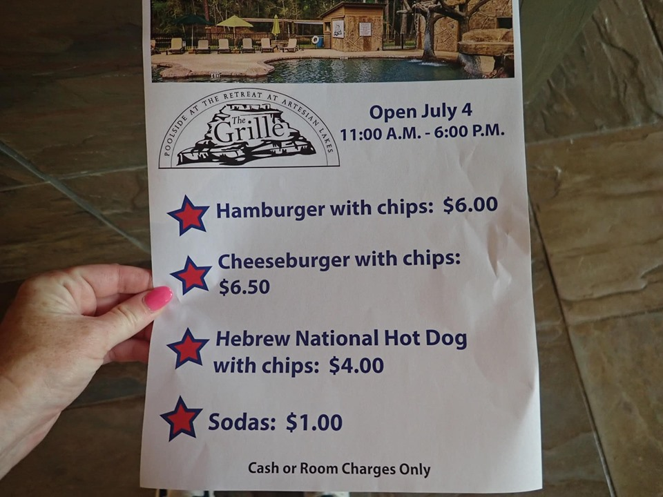 Menu at the Grille poolside restaurant at the lake.| The Retreat at Artesian Lakes in Texas