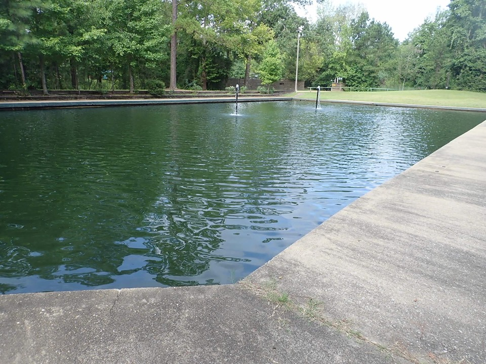 View of a small man made fish pond for toddlers at the lake.| The Retreat at Artesian Lakes in Texas