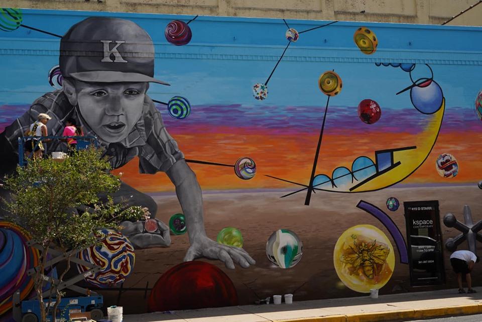 Artwork on outdoor building wall in Corpus Christi.   Corpus Christi Bachelorette Weekend