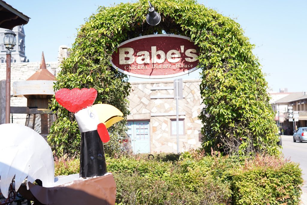 Sign outside Babe's Chicken restaurant.   A Guide to Granbury, Texas