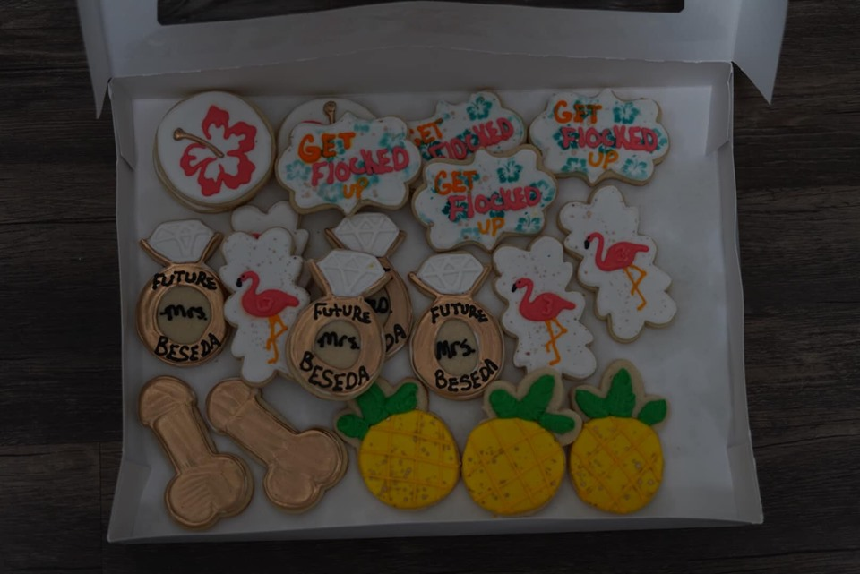 Decorated bachelorette cookies in a box at Corpus Christi.   Corpus Christi Bachelorette Weekend