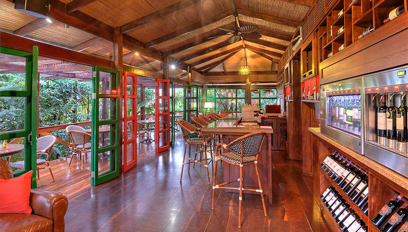 Inside view of the Nostalgia Wine and Tapas Bar in Costa Rica.   Costa Rica, Arenal Volcano