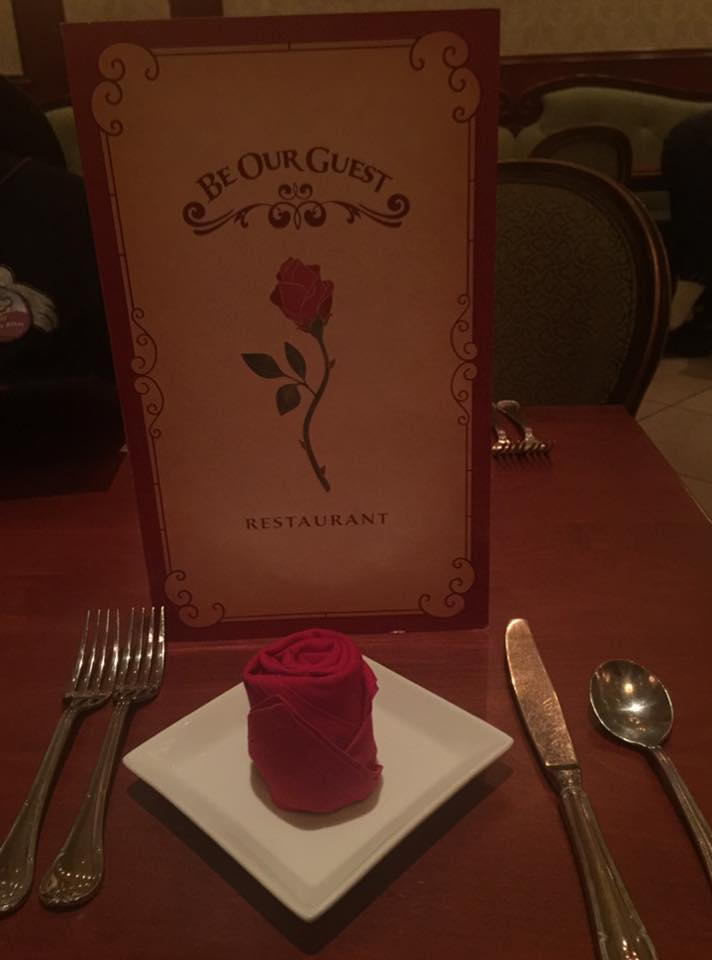 Menu at Be Our Guest restaurant for anniversary dinner at Disney World.   Celebrating A Wedding Anniversary at Walt Disney World
