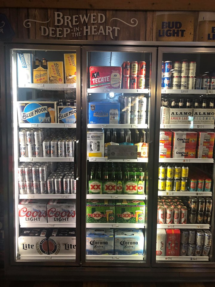 Beer coolers inside Convenience Store at Jellystone in Texas.   Jellystone Park in Waller, Texas