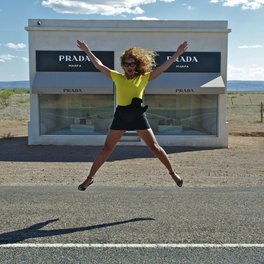 Beyonce jumping in front of Prada storefront in Marfa. | Marfa, Texas- Where to Stay, What to do, & What to Eat