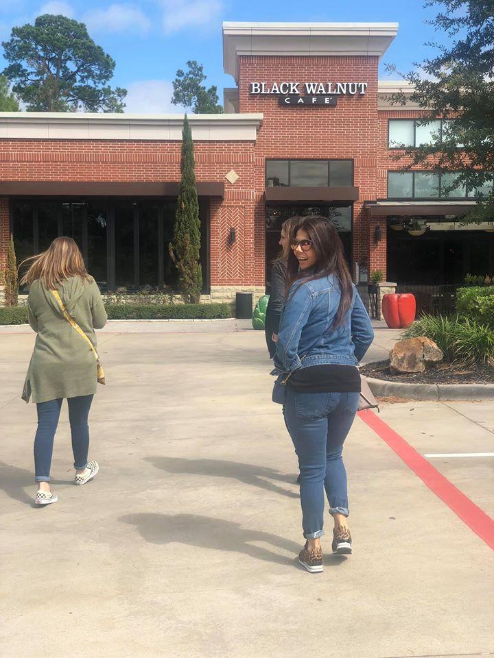 Women walking towards Black Walnut Cafe in Woodlands.   Girls Weekend Getaway- Woodlands, TX