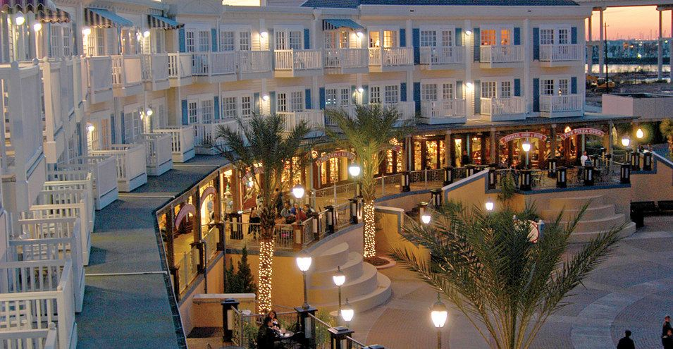 View of the Boardwalk Inn at sunset. | Kemah Boardwalk in Texas