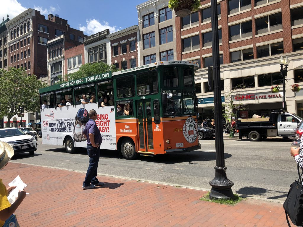 View of Boston Trolly on the street in Boston. | Boston, Massachusetts- Adult Getaway