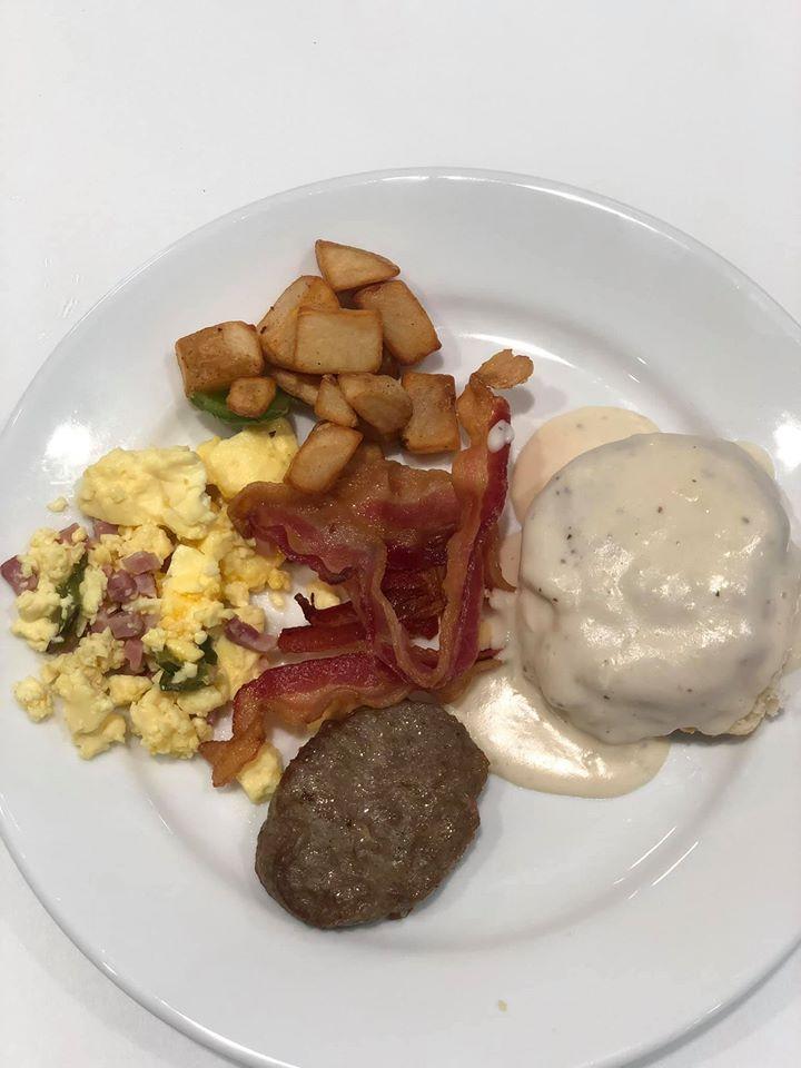 Plate of breakfast food at the Embassy Suites in Hilton Woodlands.   Girls Weekend Getaway- Woodlands, TX