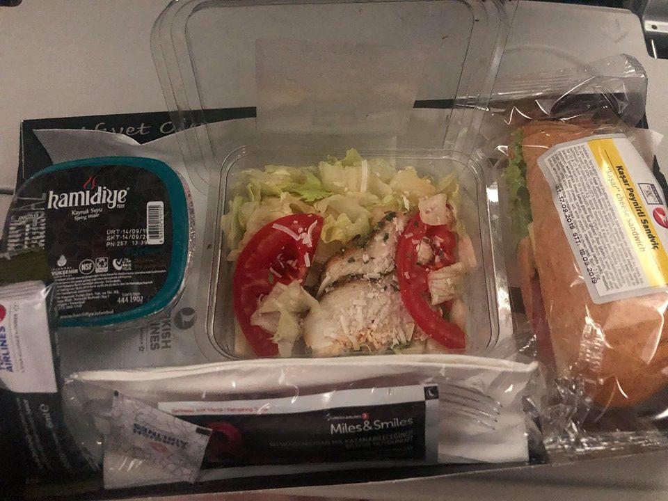 Platter of lunch food on British Airways. | Skopelos Island, Greece- Mamma Mia Island