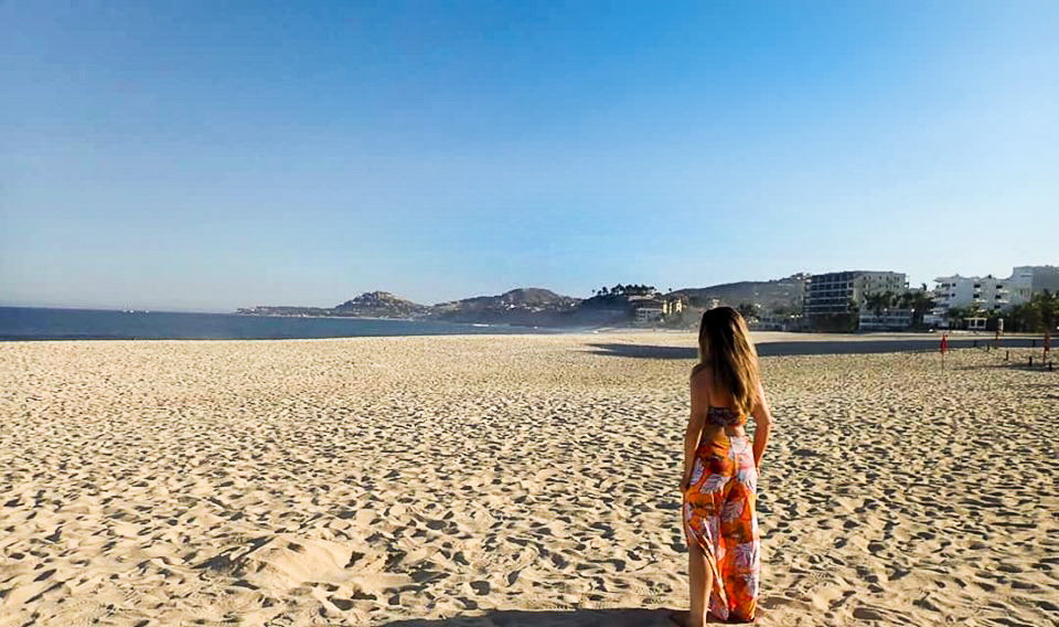 Woman on large beach in Cabo.   Cabo, Mexico- The Best All Inclusive Vacation