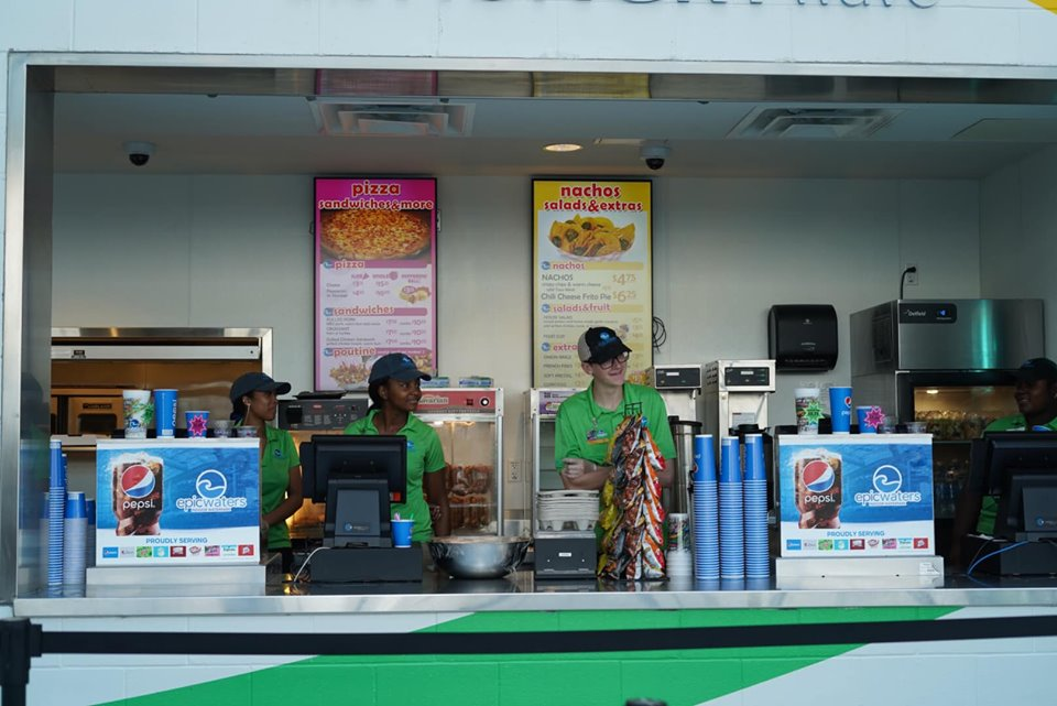 View of concession stand at Epic.| Epic Waterpark in Dallas, Texas