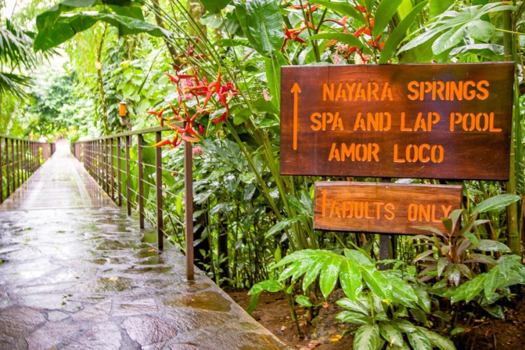 Trail sign for Springs Spa and Lap Pool at Nayara Spa and Gardens in La Fortuna.   Costa Rica, Arenal Volcano