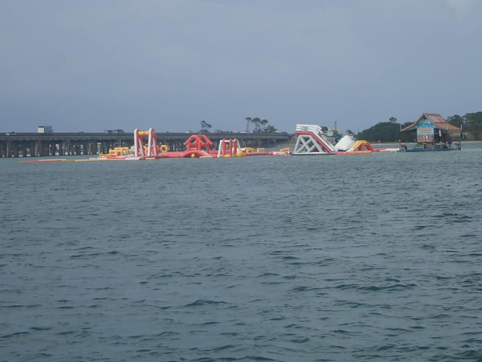 Floating waterpark on Crab Island in Destin.   Destin, Florida with the Kids