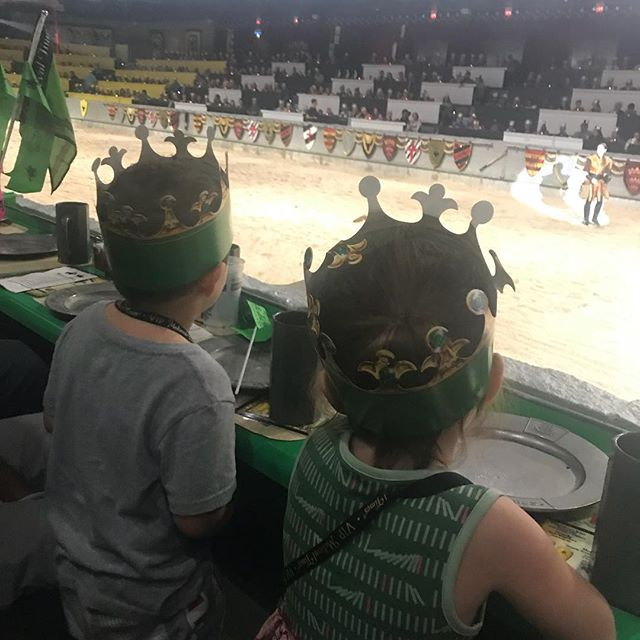 Kids watching show at Medieval Times with Dinner and Tournament in Dallas.| Weekend in Dallas with Kids