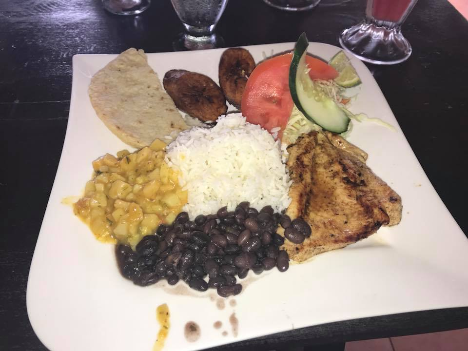 Plate of food at a local restaurant after white water rafting down the Sarapiqui River in Costa Rica.   Costa Rica, Arenal Volcano