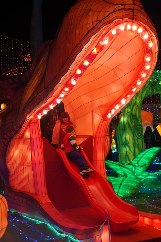 Kids playing in the dino slide. | Magical Winter Lights Houston