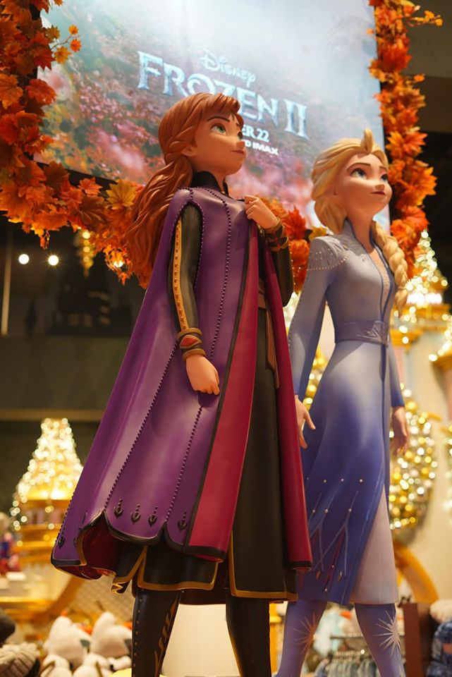 Frozen character statues inside the Disney Store.   New York City