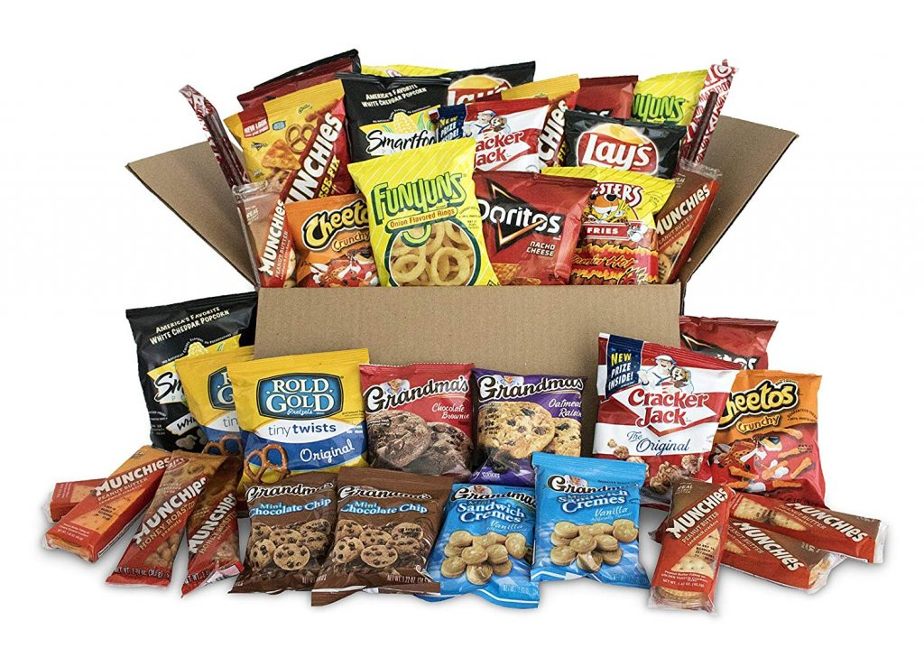 Large box of snacks from Amazon.