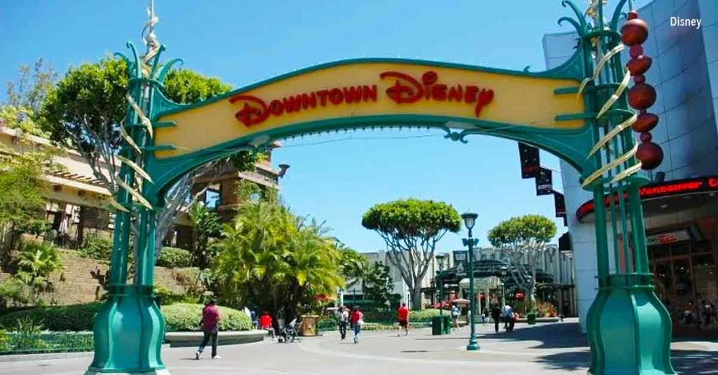 Downtown Disney sign entrance at Disneyland.   Disneyland Resort Hotels, Anaheim; What you need to know.