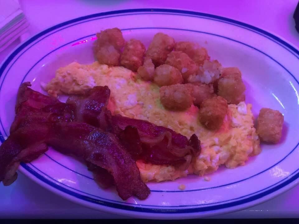 Plate of breakfast food from Ellen's Stardust Diner.   New York City