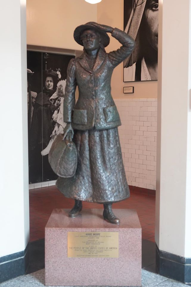 Statue of a woman at Ellis Island.   New York City