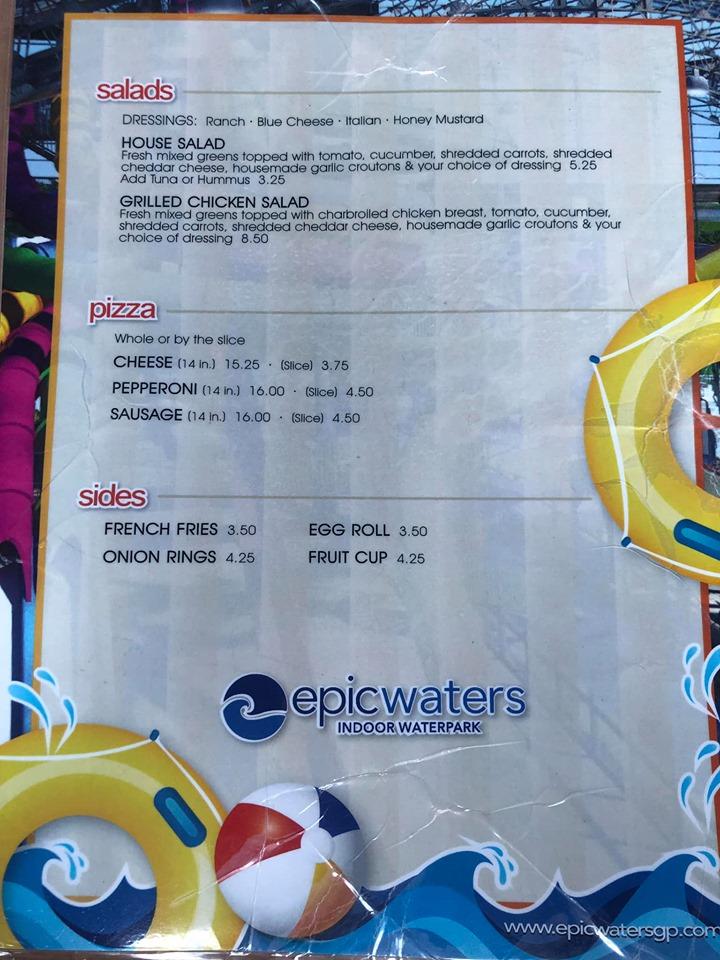 Cabana menu for Epic Eats at Epic.| Epic Waterpark in Dallas, Texas