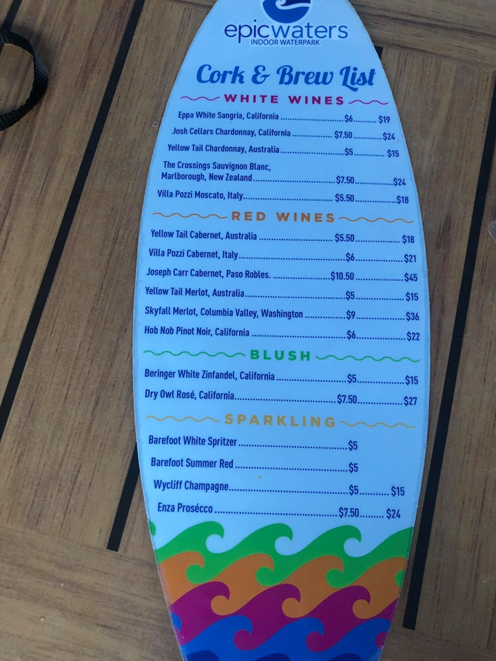 Bar menu at epicwaters at Epic.| Epic Waterpark in Dallas, Texas