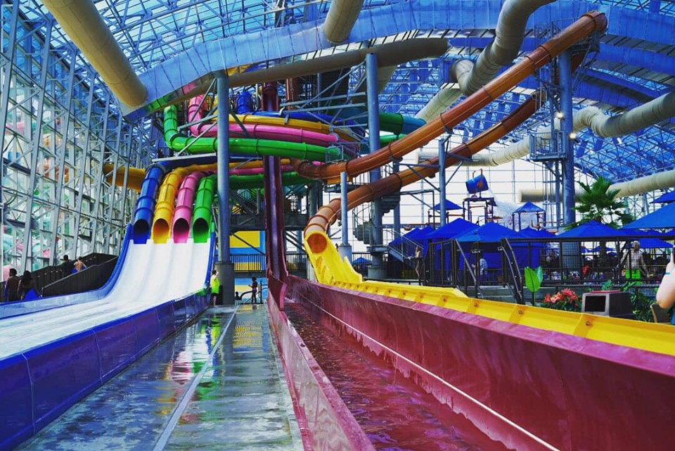 View of waterslides at Epic.| Epic Waterpark in Dallas, Texas
