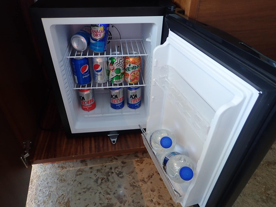 Mini fridge in hotel at the Reflect Krystal Grand Los Cabos hotel in Cabo.   Cabo, Mexico- The Best All Inclusive Vacation