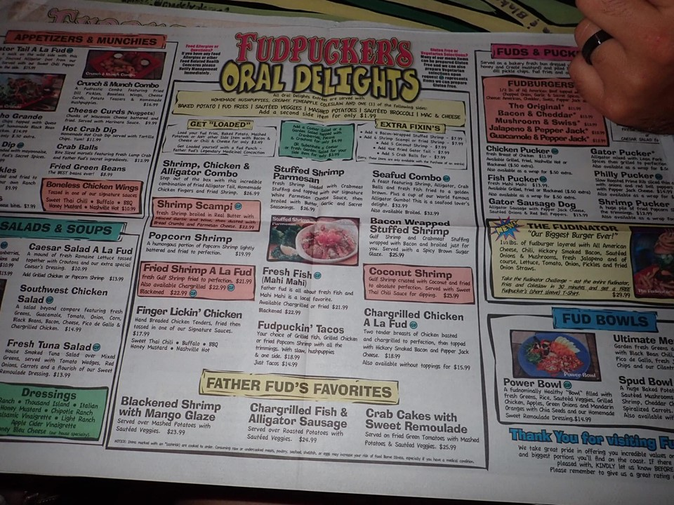 Menu at Fudpuckers Bar and Grill in Destin.   Destin, Florida with the Kids
