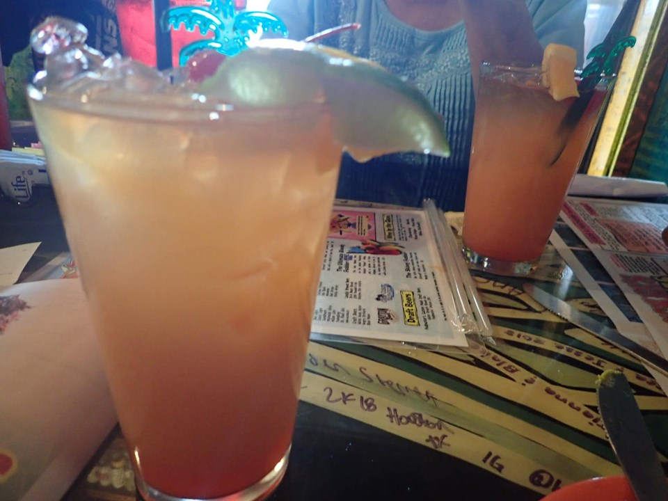 Punch drinks at Fudpuckers Bar and Grill in Destin.   Destin, Florida with the Kids
