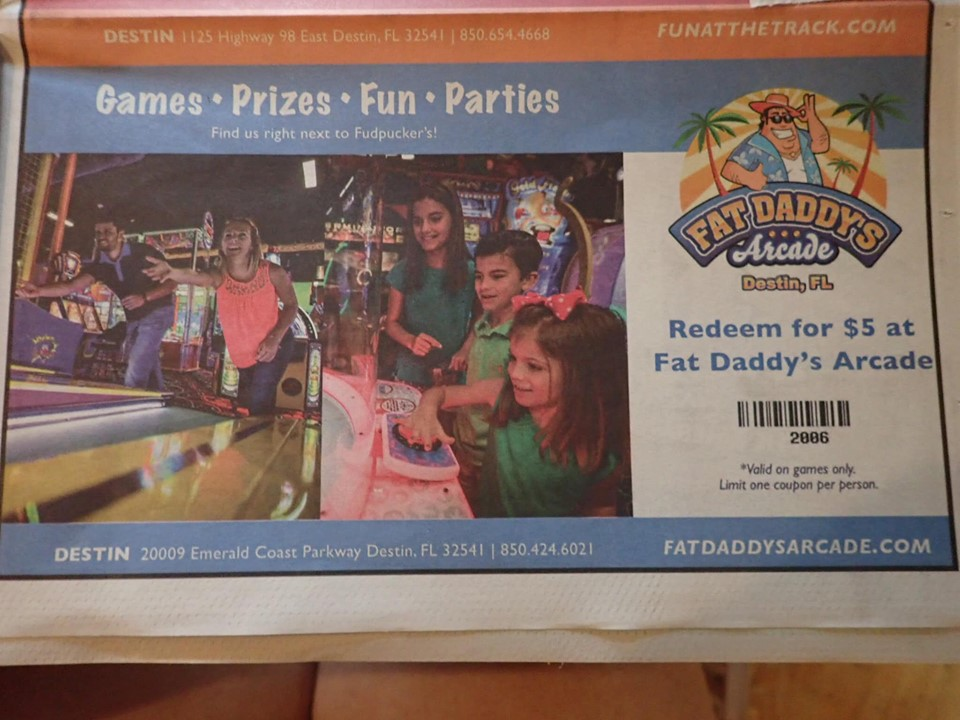 Menu coupon at Fudpuckers Bar and Grill in Destin.   Destin, Florida with the Kids