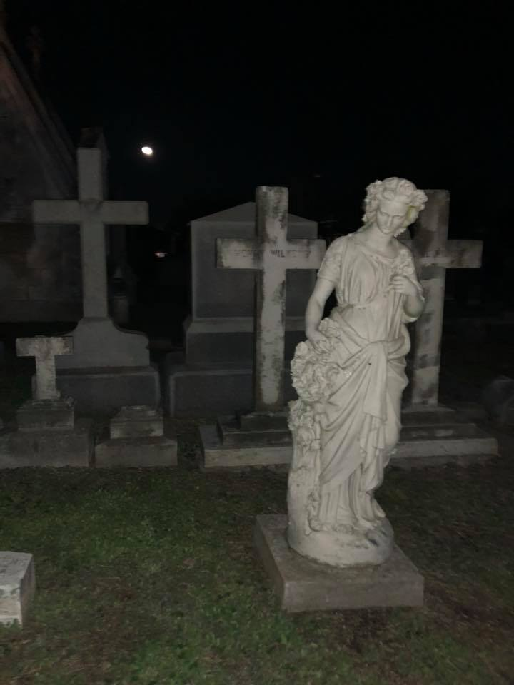 """Views of the cemetery on the Galveston Graveyard Tour in Galveston.   Adult Weekend in Galveston, Texas; on """"The Strand"""""""