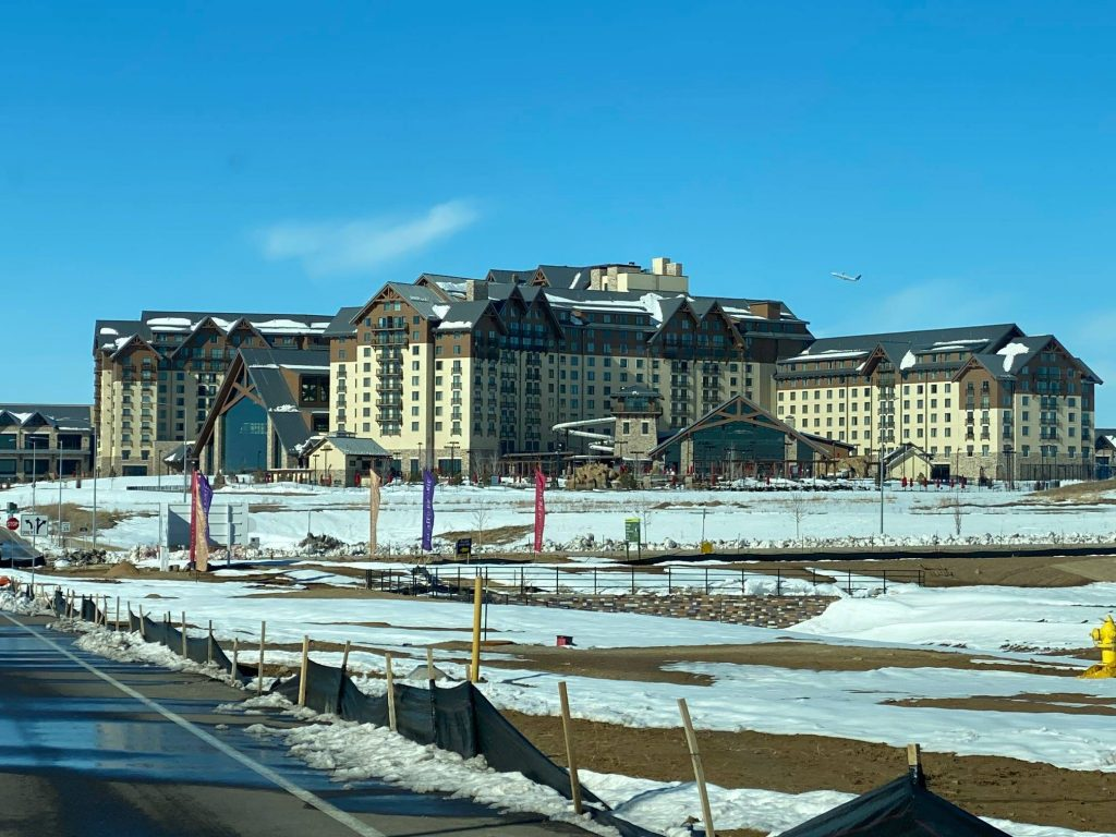 The front of the Gaylord Hotel in the daytime with snow on the ground..| Best Places to Visit in Colorado