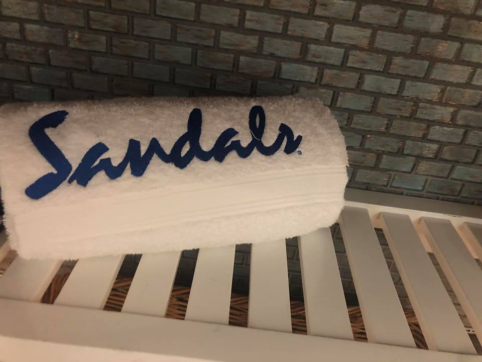 Free Sandals towel from the Sandals Resort in Jamaica.   Jamaica Over-Water-Bungalows