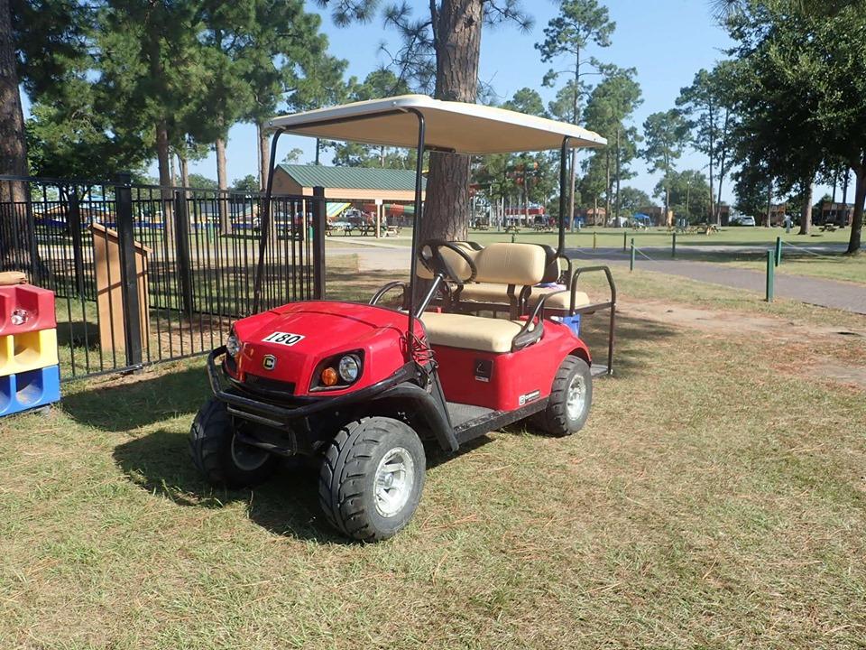 Golf cart at Jellystone in Texas.   Jellystone Park in Waller, Texas