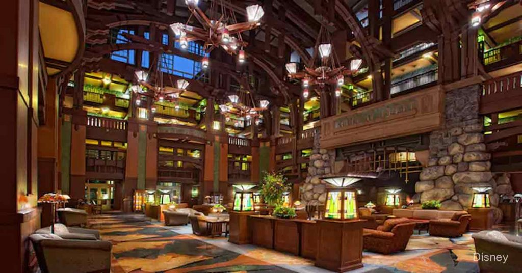 Inside the lobby of the Grand Californian deluxe hotel at Disneyland.   Disneyland Resort Hotels, Anaheim; What you need to know.